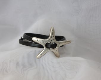 Double wrap Leather bracelet with large starfish slide and magnet clasp