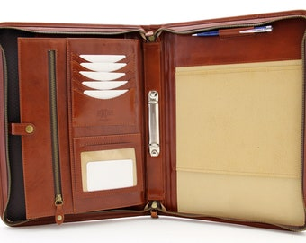 Italian  Leather Porfolio, Zippered Business Folder, Conference A4 Folder, Padfolio  2 Rings Binder,  Cognac