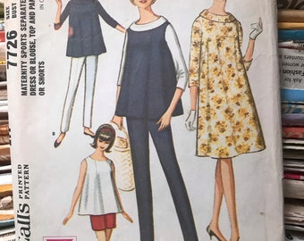 """McCalls 1960s Maternity Sewing Pattern / Vintage Dress or Blouse, Top & Pants or Shorts """"Sports Separates"""" / Size 14 / McCalls 7726"""