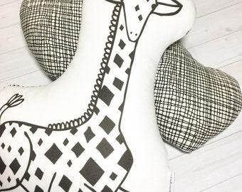 Black and White Giraffe Pillow - Giraffe Pillow - Giraffe Cotton Pillow - Stuffed Giraffe - Nursery Pillow - Zoo Pillow - Gift Under 30
