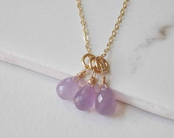Triple Lavender Chalcedony Gemstones and Gold Fill Necklace. Wedding, Lavender, Gemstone Jewelry