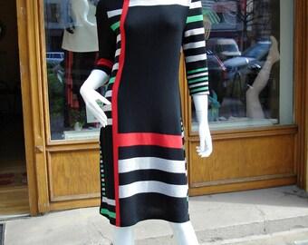 Dress knit Dress Geo Ladies dress gr. s color block dress size S