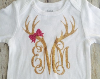 Baby girl-deer antler monogram with pink bow bodysuit, childrens clothing