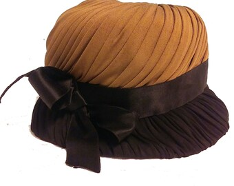 Vintage 60's Amrose NY brown & black Cloche Hat