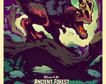 Let's GO MONSTER HUNTING! - Video Game Poster Art - Retro Hunting Print Design