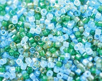 11/0 Miyuki Delica Luminous Mix 7 Mermaid Blues and Greens Glass Seed Cylinder Beads 7.2 grams DB2067