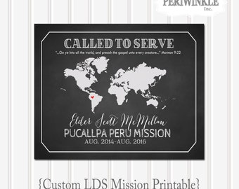 LDS Missionary-World Map Printable-Called to Serve-LDS-Mormon-Mission Call-Custom Mission Map-LDS art-digital file