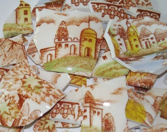 Supplies Mosaic Tile Pieces - Vintage Scenic Pieces- Transfer Mosaic Tiles - Castles -  Church- Houses- Lake -Trees -Mosaic Tiles.