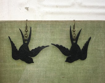 Handmade Faux Leather Sparrow Earrings