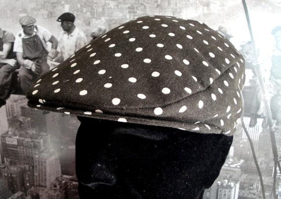 Flat Cap, Driving Hat, Brown and Ivory spot flat cap, flat caps for men