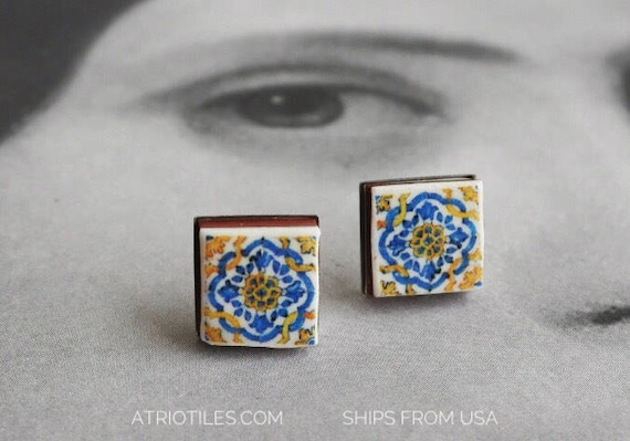 Stud Earrings Portugal Tile Ericeira Antique 17th century Azulejo - Blue Gold-  Stainless Steel Hypo Allergenic - Ships from USA  774