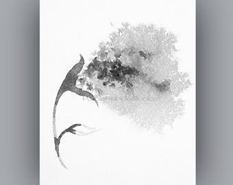 Black and White Downloadable Images, Instant Digital Download, Abstract flower painting print
