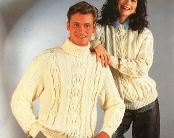 328ccce28ed4d womens   mens aran sweater knitting pattern pdf ladies cable jumper crew  polo or roll neck Vintage 32-44