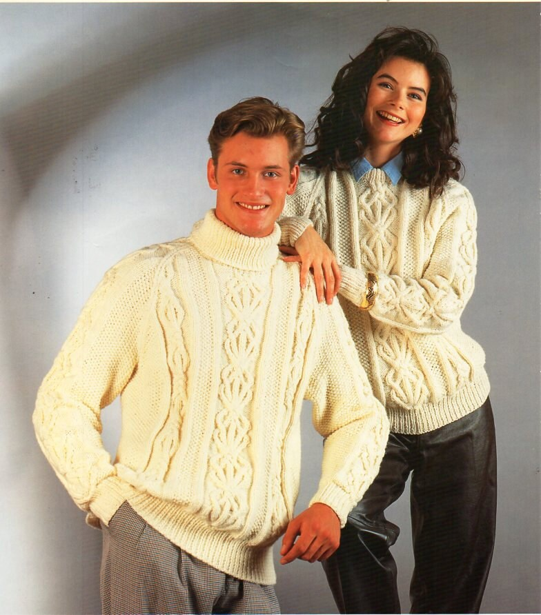 Womens Mens Aran Sweater Knitting Pattern Pdf Ladies Cable