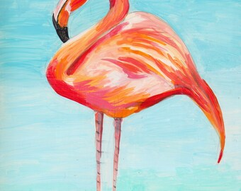 Fiesty Flamingo in Bright Colors | Original Gouache Painting | Colorful
