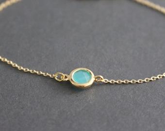 Mint Blue Gold framed crystal bracelet