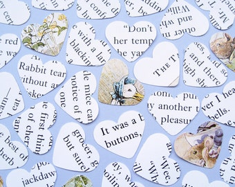 Beatrix Potter Heart Book Confetti - Choose from 500 to 900 Hearts - Baby Shower, Birthday Party, Christening, Wedding - Table Decor