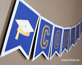 Custom Graduation Banner, Congrats Grad Banner, College/ High School Graduation Decorations, Blue/White/Gold/Green/Silver/All school colors