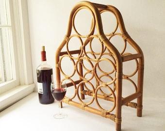 Rattan Wine Rack, Large Vintage Wine Rack, Peg Construction, Countertop Wine Storage, Mid Century Barware, Tiki Style Modern Rustic