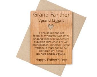 Grandpa Card Mini Wood Card. Grandpa Gift Ideas for Grandfather Fathers Day Card. Unique Father's Day Cards.