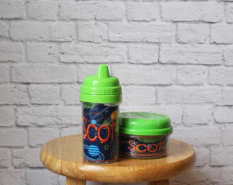 Personalized Sippy Cup and Snack Holder - Snack Cup - White, Blue, Green or Pink Lid - You Choose your Fabric - by Pocketbrand