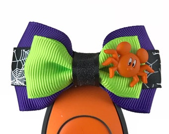 """Orange Spider Mickey Magic Band  Bow or Apple Watch Bow, 2"""" Mini Hair Bow, Planner Bow - Halloween Collection"""