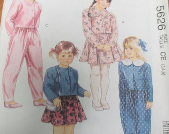 Sewing paper pattern children play clothes pattern size 3,4,5  uncut McCall's 5626