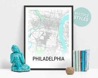 Philadelphia Map Print, Pennsylvania, USA, City Map, Travel Map, Map Art, Map Poster, Wall Art, Home Decor, Modern, Minimalist
