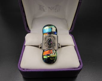 Vintage Sterling Fused Dichroic Glass Mystic Topaz Ring - Sterling Dichroic Glass Knuckle Ring - Boho Dichroic Glass Sterling Finger Ring
