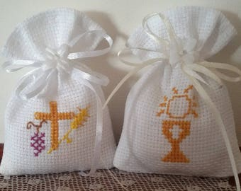 Bags for embroidery comfits communion with cross stitch on aida white