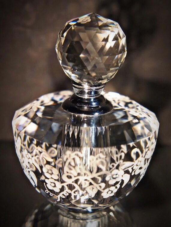 Hand Engraved Perfume Bottle Oleg Cassini Crystal Mini