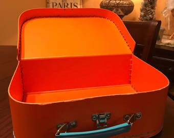 Vintage Orange Lunchbox with Blue Stitching