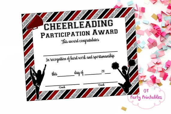 Instant download cheerleading certificate cheerleading instant download cheerleading certificate cheerleading award cheerleading printable cheerleading participation end of season award yadclub Images