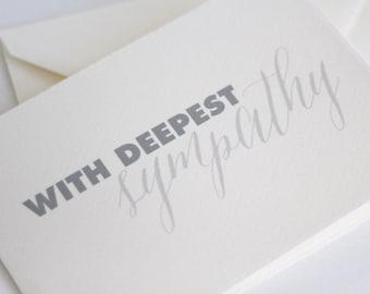 With Deepest Sympathy Card // Sympathy Card // condolence card // card for sympathy // card for condolences // LARGE CARD