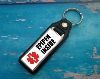 Silver Plated Keyring - Key Ring - Key Chain - EpiPen Inside key fob - Awareness