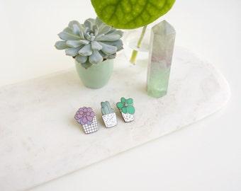 Cactus Enamel Pin Trio // succulent pin - enamel pin - lapel pin - flair - enamel jewellery - pin badge