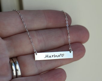 Custom Word Necklace, Sterling Silver Necklace, Personalized Customized Name Horizontal Bar Jewelry, Girlfriend Gift