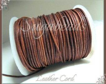 Cognac Brown Leather Cord, Round Leather Cord, 16 feet leather, 1.5mm thick cord, Brown Leather