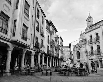 Spain Photo, Spain Wall Art, Spain Print, Travel Decor, Salamanca, Europe, Cafe, Bar, Street, Black and White Photography, Fine Art Print