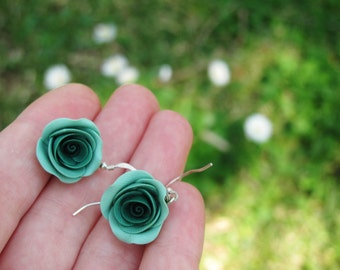 Pine green rose earrings with 925o silver ear hooks, handmade polymer clay earrings, pine green roses, handmade rose earrings