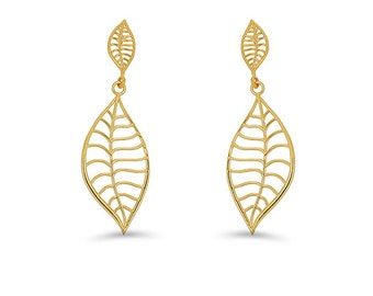 14k solid gold high polish leaf earrings