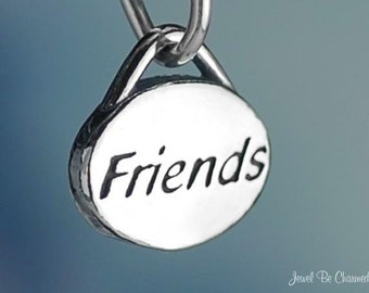 Sterling Silver Friends Charm Small Friendship Best Friend Solid .925