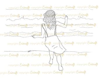Digital Stamp - Rachel to the sea - 300dpi jpeg file by Erica Bruton