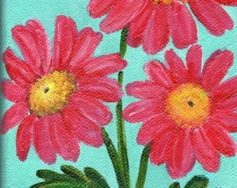 Pink Gerbera Daisies painting, Gerber Daisy flower art, 4 x 6 Original Acrylic on Canvas