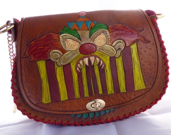 100% Custom handmade and handtooled leather handbag