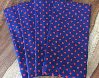 Red and Blue dot napkins-red white blue-Set of 2 or 4