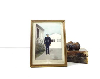 Vintage Police Officer Photo in Frame / 1950s Framed Colorized Cop in Dress Uniform Occupational Photograph
