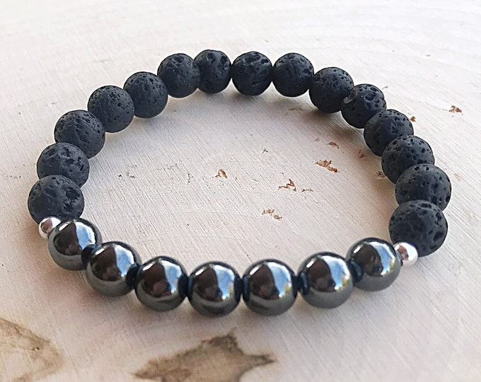 Reiki-Infused Hematite Lava Stone Stretch Bead Bracelet, Healing Crystal, Aromatherapy Jewelry, Essential Oil Diffuser, Handmade, Bohemian