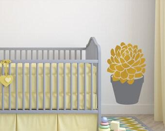 Baby Nursery Decor Giant Succulent Plant Decal: Style B Succulent Wall Decal, Nature Nursery Decor (0177d)