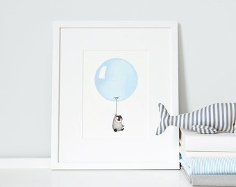Pastel Blue, UNFRAMED Balloon Art Print, Children's Picture, Kid's bedroom / Nursery Wall Art, Baby Boy, New Baby Gift,